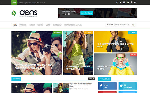 Dens Magazine Blogger Template
